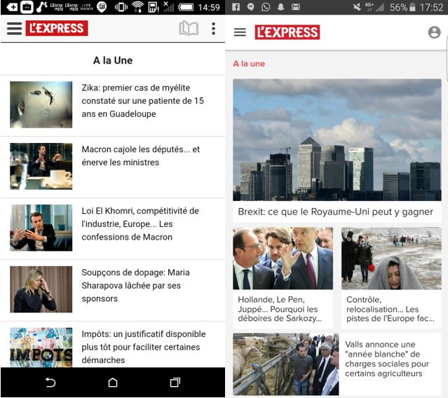 capture home page application l'express