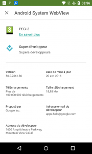 play store taille