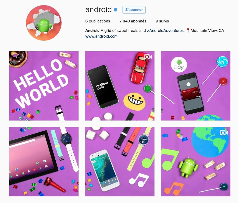 android a un compte instagram officiel ere num rique. Black Bedroom Furniture Sets. Home Design Ideas