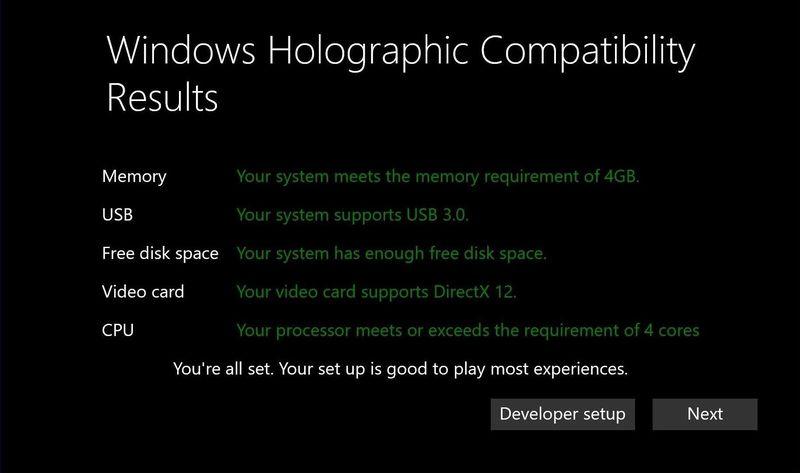 Les spécifications nécessaires — Windows Holographic