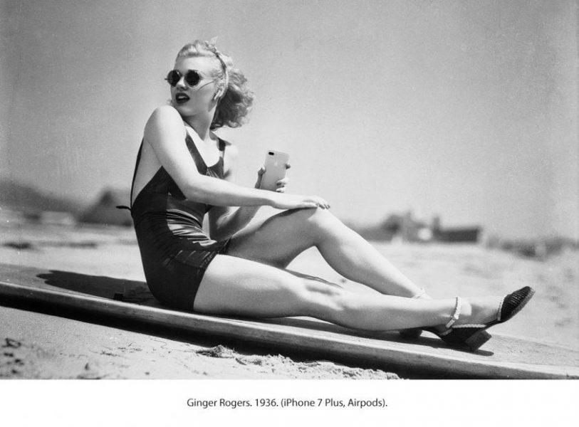 Ginger Rogers avec un iPhone 7 Plus et des AirPods