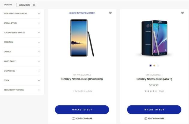 Samsung Galaxy Note 8 fuite sur le store du constructeur