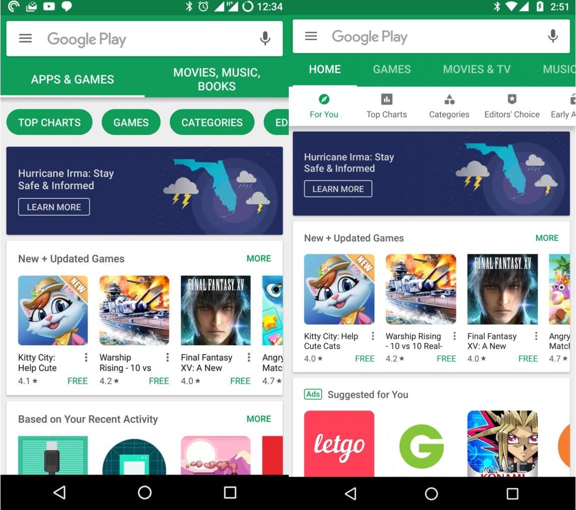 Google Play Store avant et après