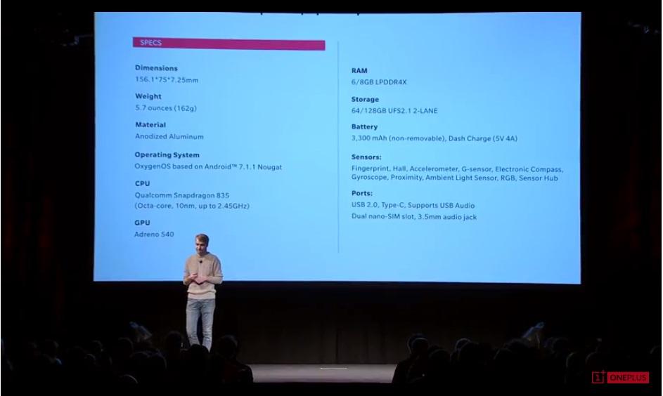 OnePlus 5T fiche technique caractéristiques