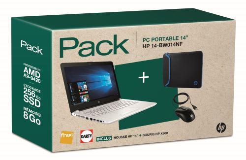 Pack PC ultra-portable HP 14-bw014nf + housse noire et bleue + souris filaire X900 noir à seulement 399 euros