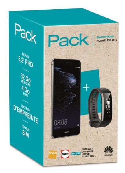 Pack Fnac Smartphone Huawei P10 Lite Double SIM 32 Go Argent Bracelet connecté Band 2 Pro Noir
