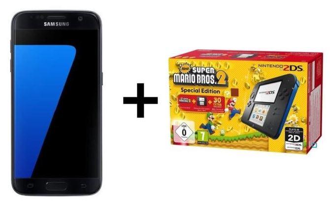 Samsung Galaxy S7 Edge + Nintendo 2DS + New Super Mario Bros 2