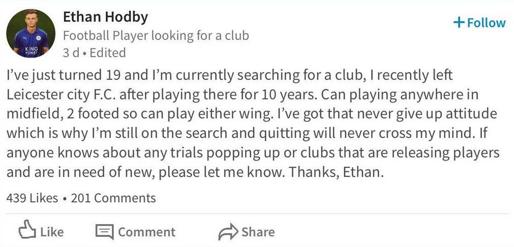 Ethan Hodby joueur de Leicester City LinkedIn
