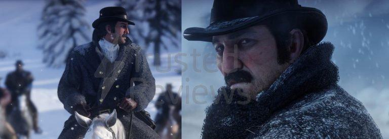Dutch Van Der Linde de Red Dead Redemption 2 - à gauche, l'image de Trusted Reviews, à droite, celle de Rockstar Games