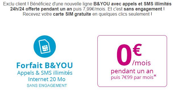 Bouygues Telecom : les abonnés peuvent profiter d'un forfait B&YOU à 0 euro !