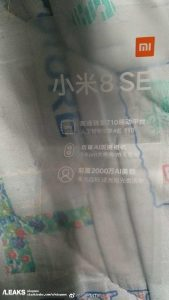Xiaomi Mi 8 SE Slashleaks