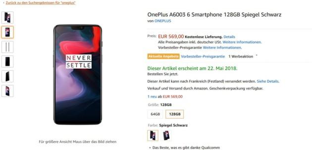 amazon oneplus 6 5 - Amazon dévoile avant l'heure le OnePlus 6