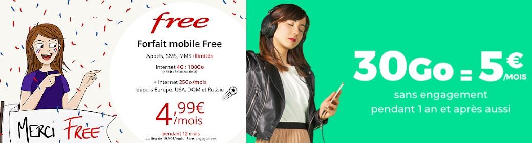 Fin de la promo Free Mobile 100 Go à 4.99 euros et prolongation du forfait RED 30 Go à 5 euros