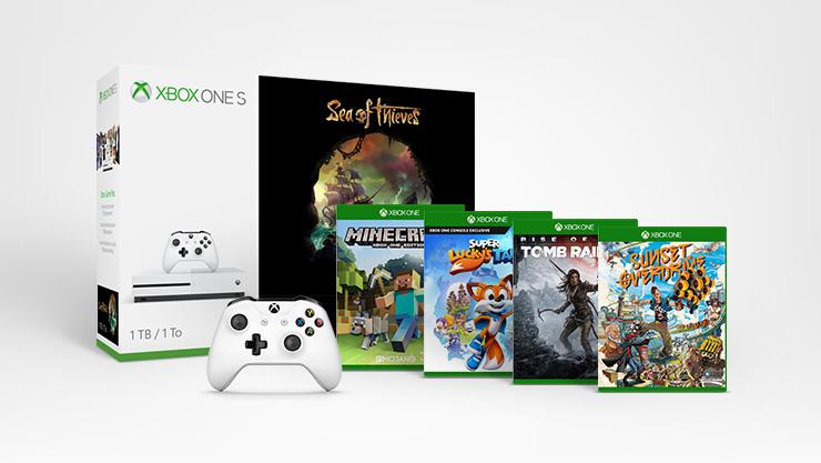 Bon plan : Xbox One S 1 To + Sea of Thieves + 4 autres jeux + une deuxième manette à 299 €