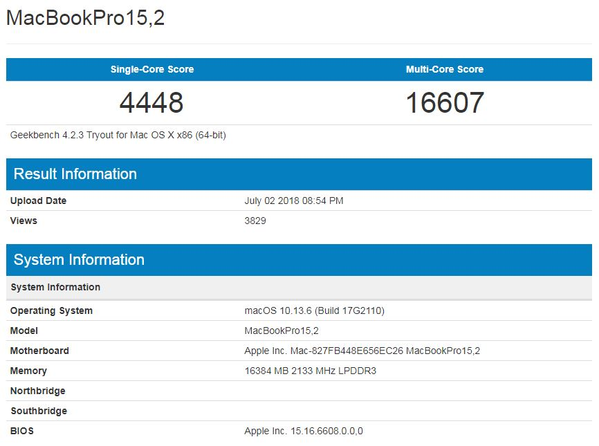 MacBook Pro 15.2 - une fiche technique apparaît sur Geekbench