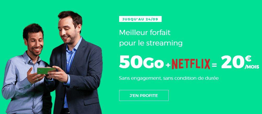 Un forfait illimité 50 Go avec Netflix à 20 euros chez RED by SFR !