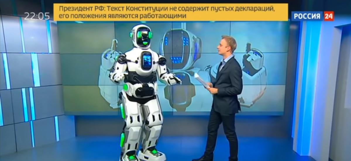 Un (faux) robot russe à la télévision