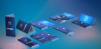 Un rendu du smartphone pliable d'Intel