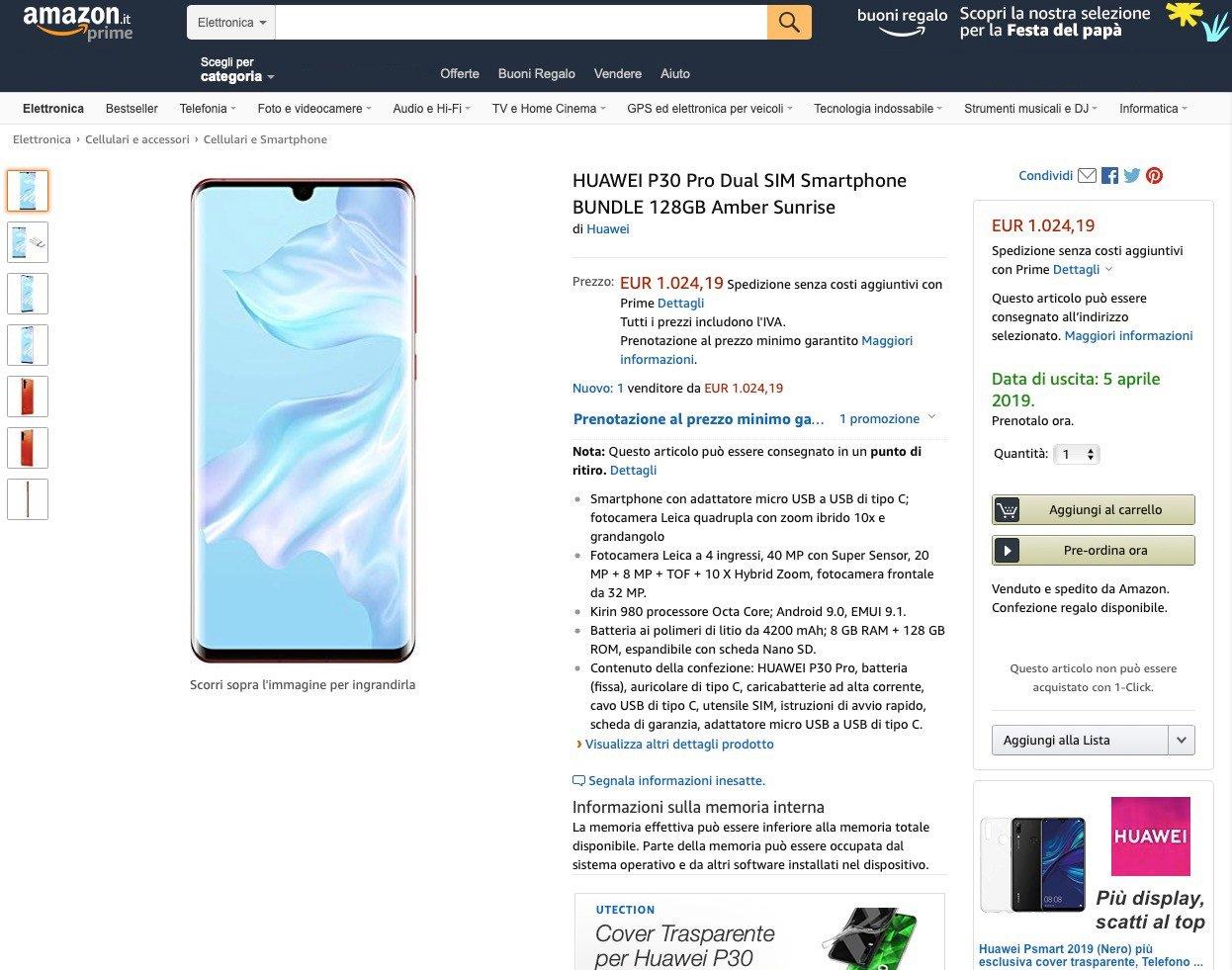 Huawei P30 Pro : tout fuite sur Amazon Itaila !