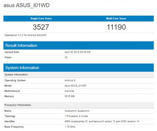 Asus ZenFone 6Z sur Geekbench et AnTuTu