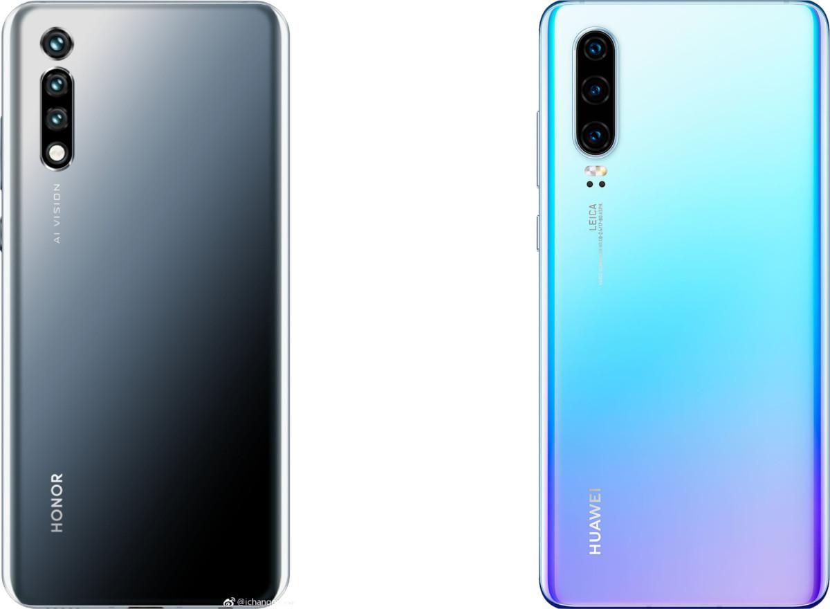 Un leak du Honor 20 à gauche face au Huawei P30 à droite