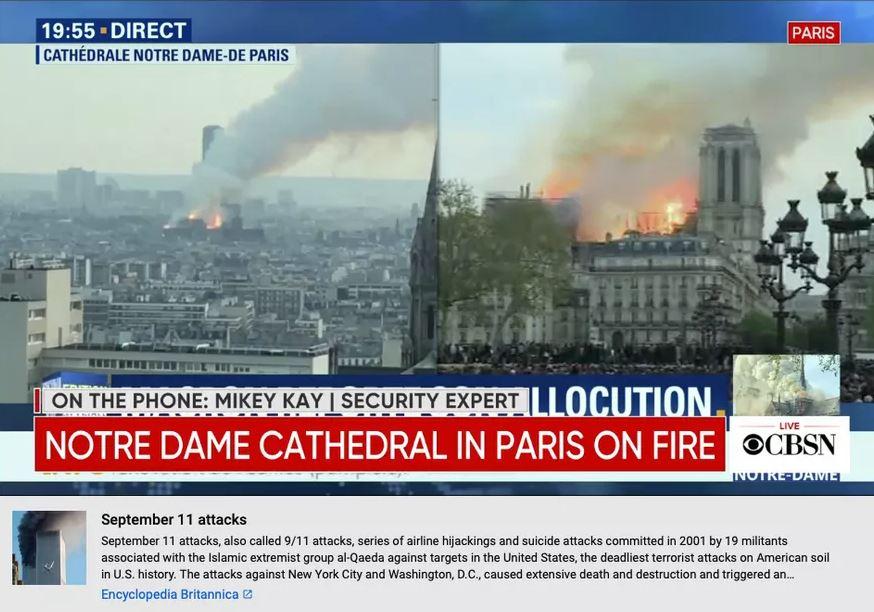 Quand YouTube a associé l'incendie de Notre-Dame de Paris à l'attentat du 11 septembre